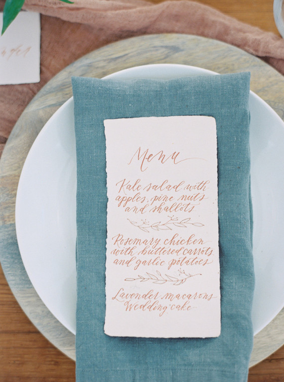 Spring wedding menu