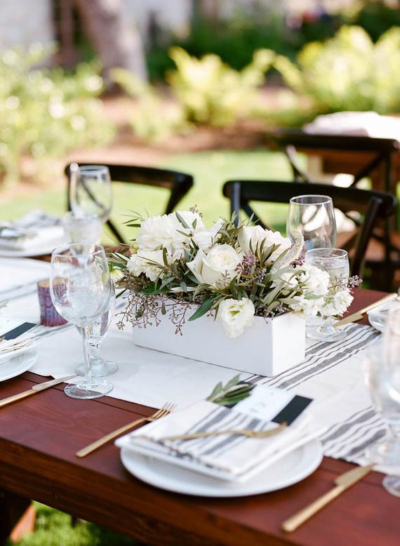 Casual modern wedding florals