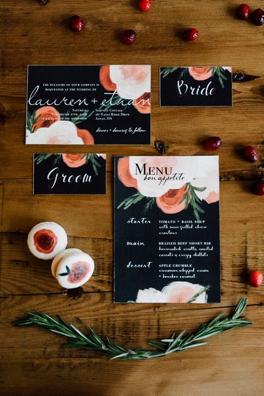 Modern winter wedding invitation