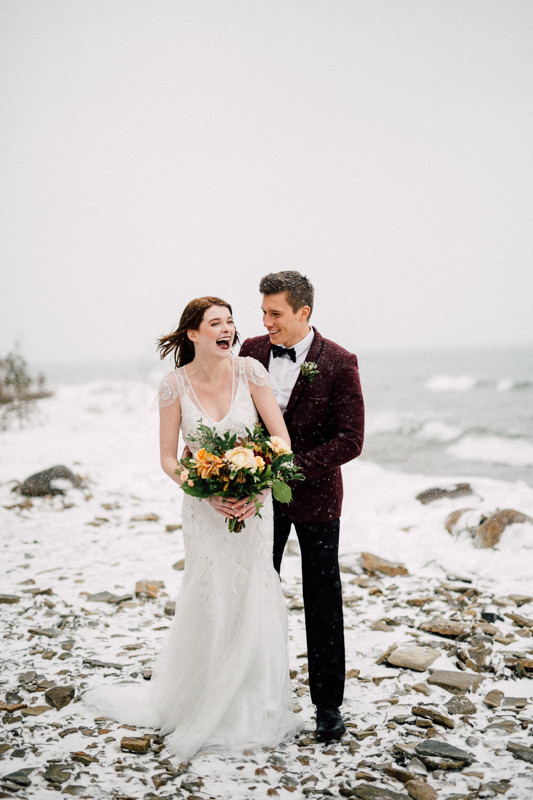 Snowy wedding portraits