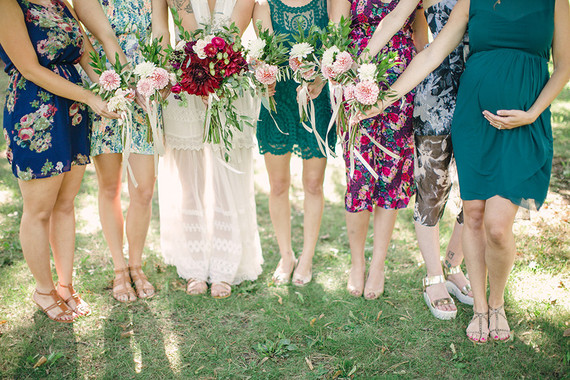 Mixed matched bridesmaid dresses