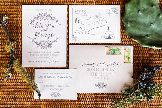 Tee pee wedding invitations