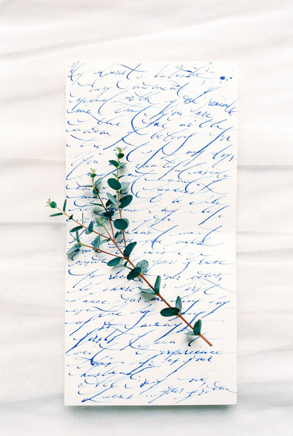 Blue calligrphy
