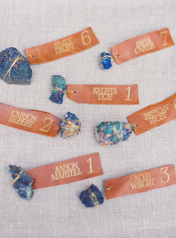 Indigo gems and leather secret cards