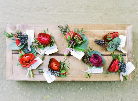 Red florals boutonnières
