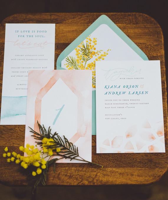 Watercolor wedding invitaton