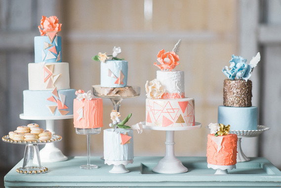 Modern geometric cake display