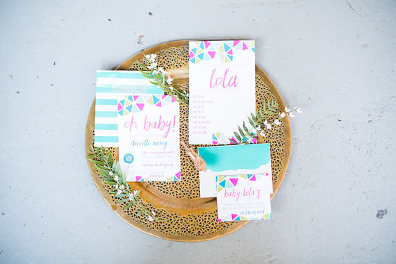 bright modern baby shower invites