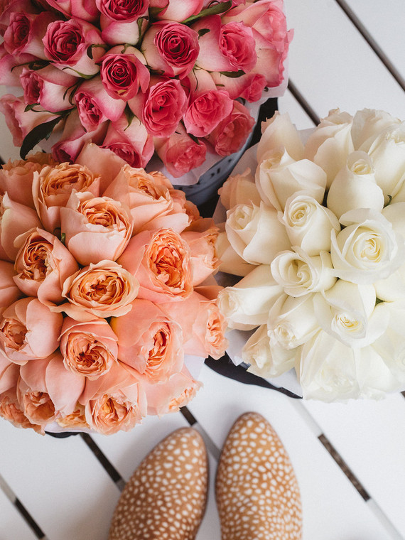 peach and pink roses
