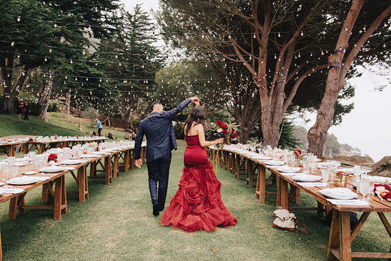 Red Vera Wang wedding dress