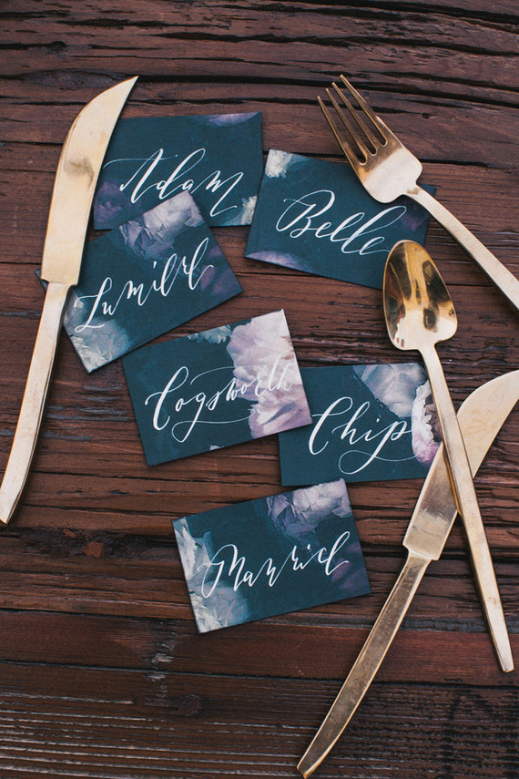 Dark floral escort cards
