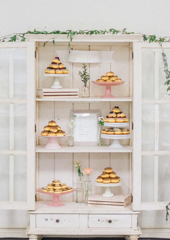 Dessert table in vintage cabinet
