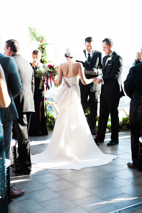 Modern san diego wedding at the ultimate skybox kristin for Off the rack wedding dresses san francisco
