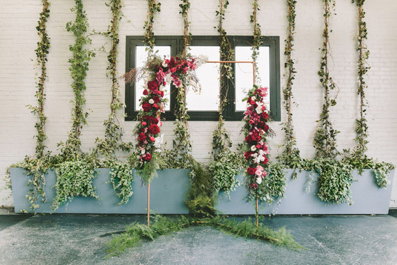 Botanical ceremony backdrop