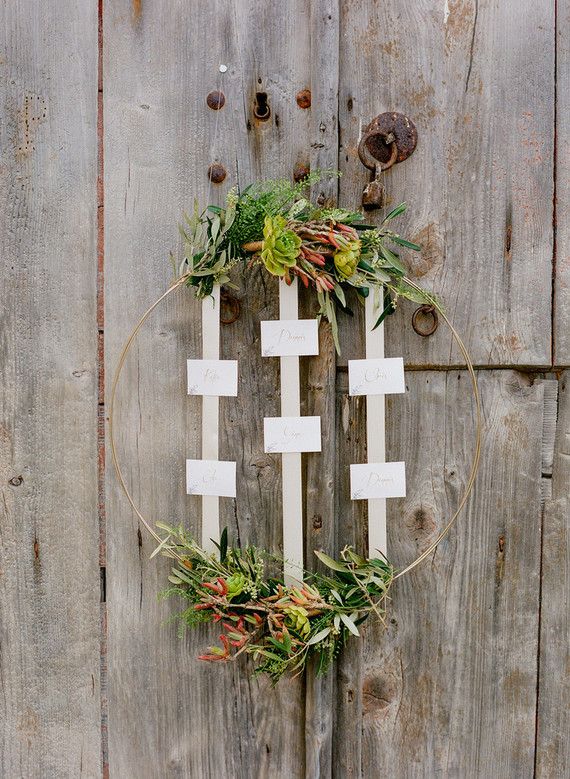 Wreath escort card display