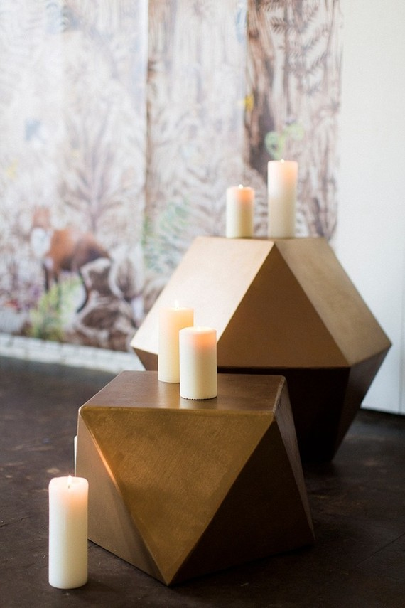 Gold geometric side tables