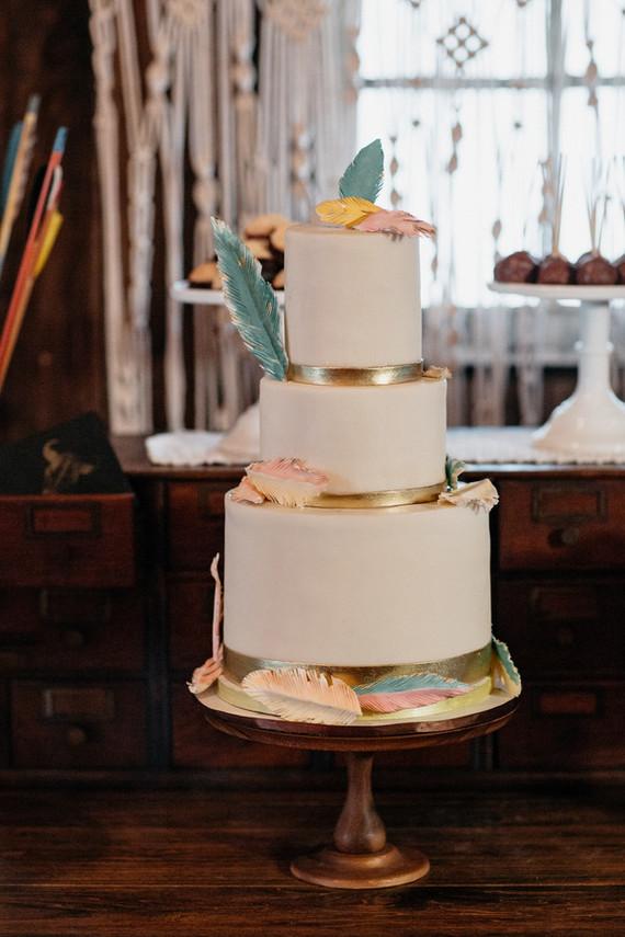 Modern bohemian wedding cake