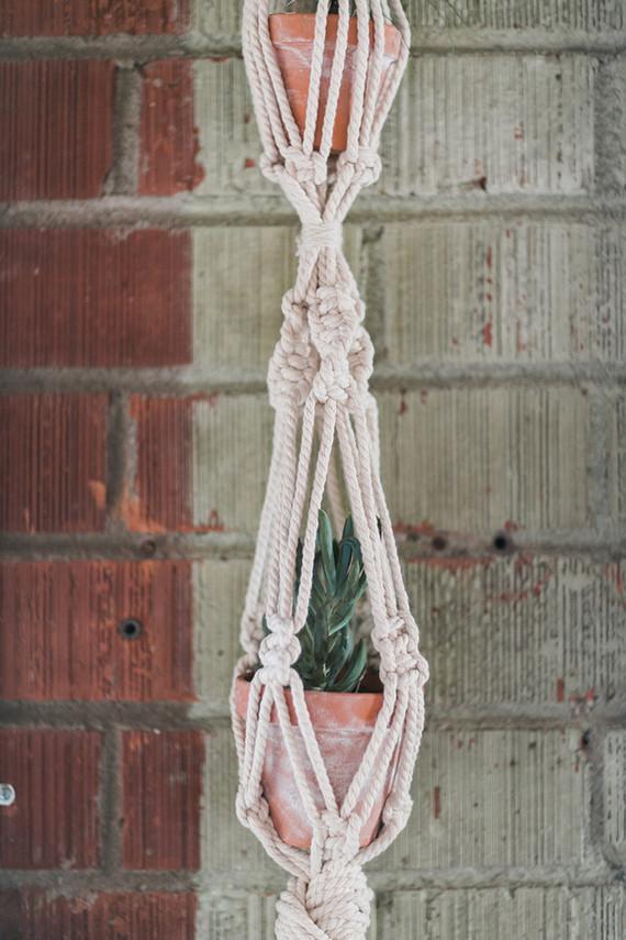 Macrame floral holder
