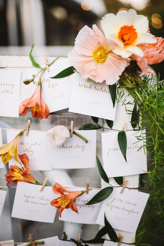 Floral escort cards