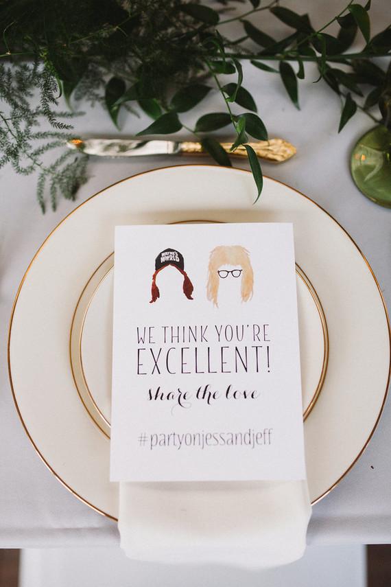 Whimsical wedding menu