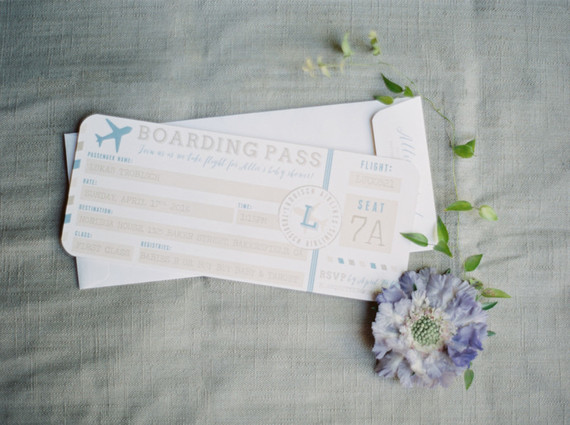 Travel themed baby shower invites