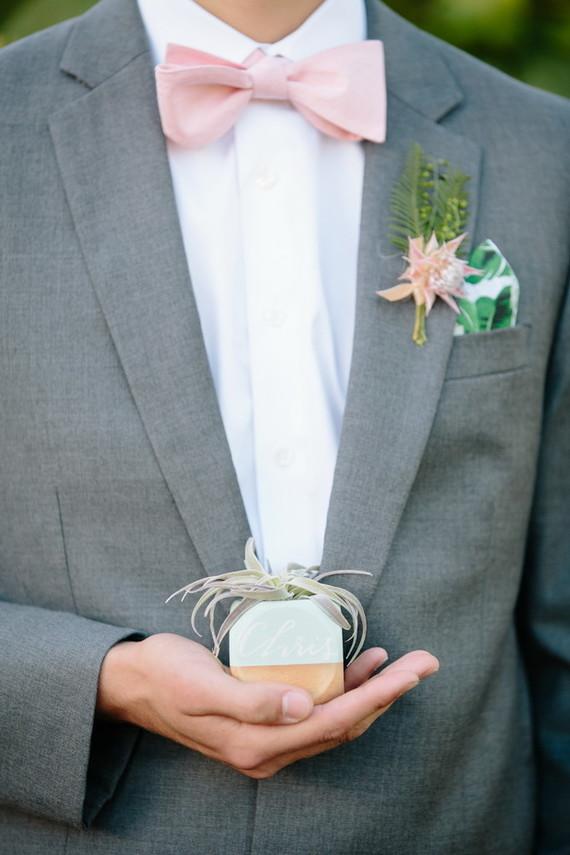 Modern succulent escort cards
