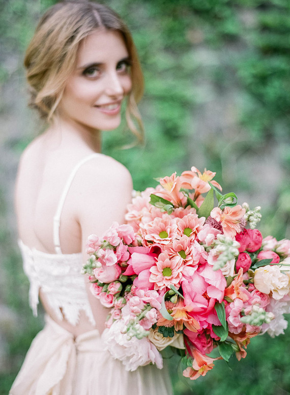 Pink spring bridal bouquet