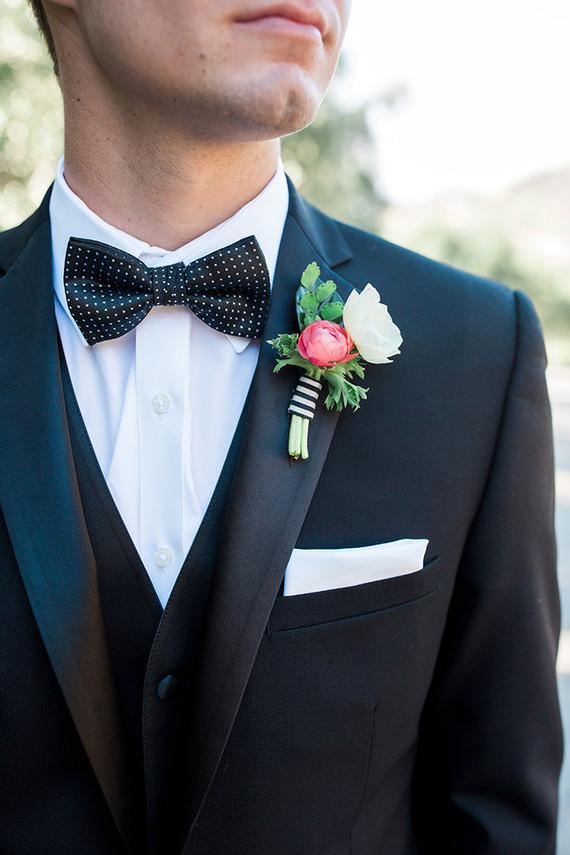 Black grooms bow tie