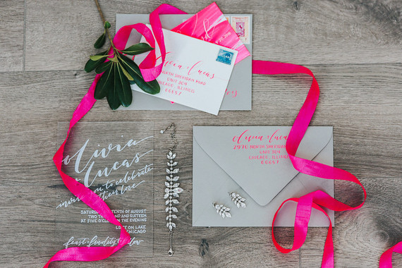 Modern neon pink wedding invitation