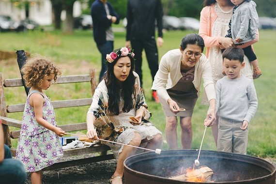 summer outdoor party with smores