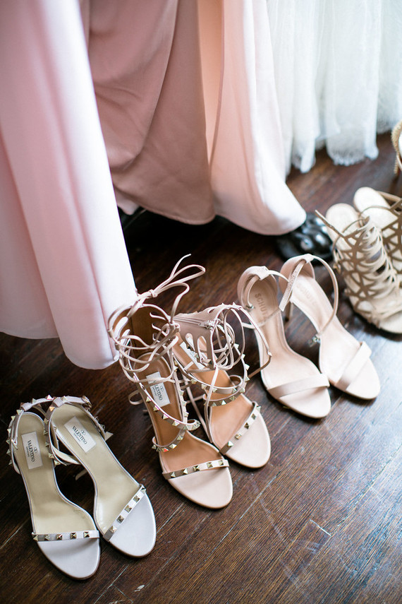 mixed nude bridesmaid shoes