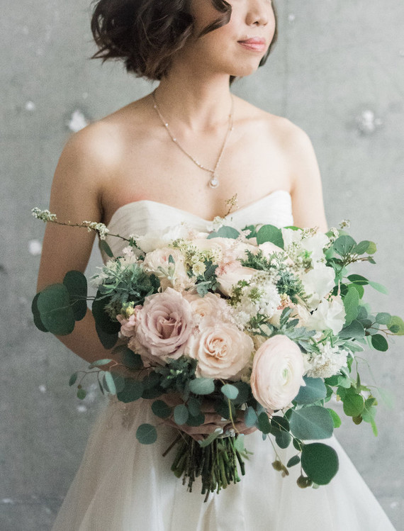 romantic blush bouquet and portrait