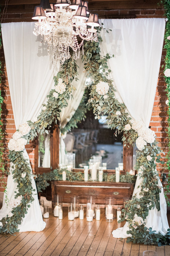 romantic indoor ceremony decor