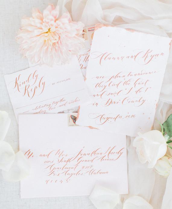 white and blush wedding invitations