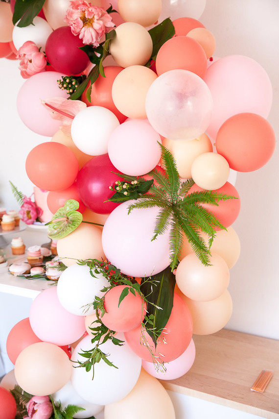 pink balloon installation