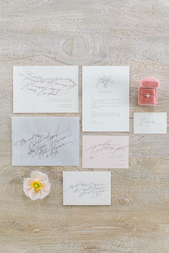 elegant blush wedding invitations