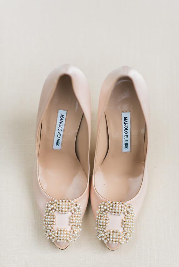 blush manolo blank wedding shoes