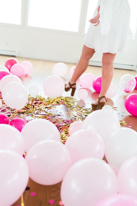 gender reveal balloon drop