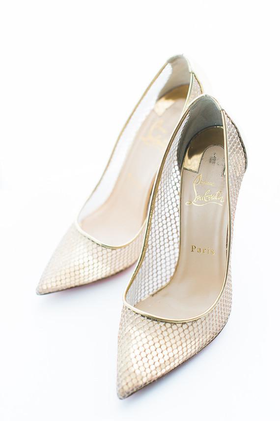 gold christian louboutin wedding shoes