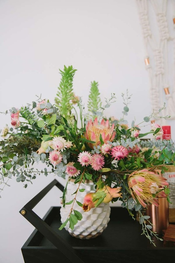 bar cart flowers