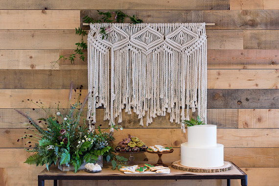 macrame wall hanging dessert table