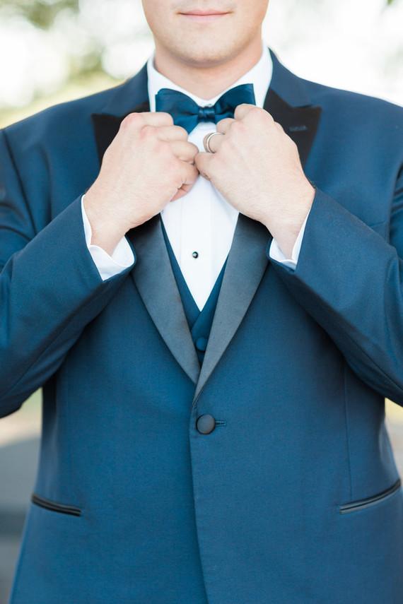 Deep blue grooms tux