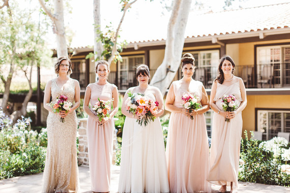 Blush and gold bridesmaid dresses