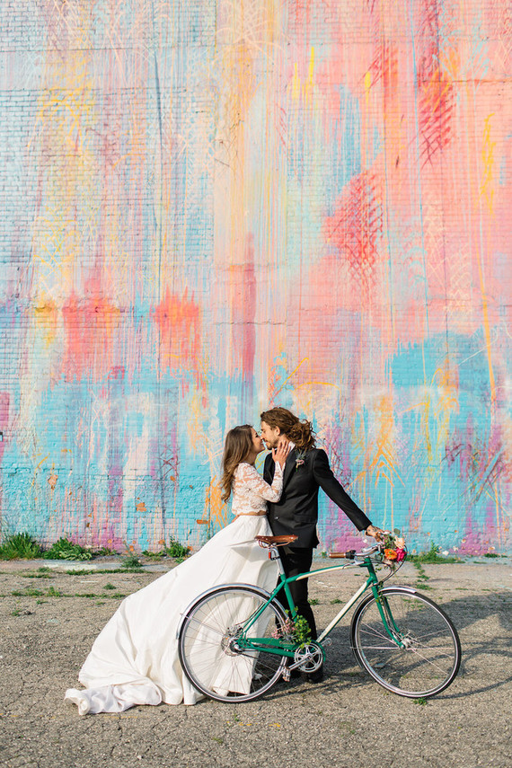 Wedding portraits with bicycle