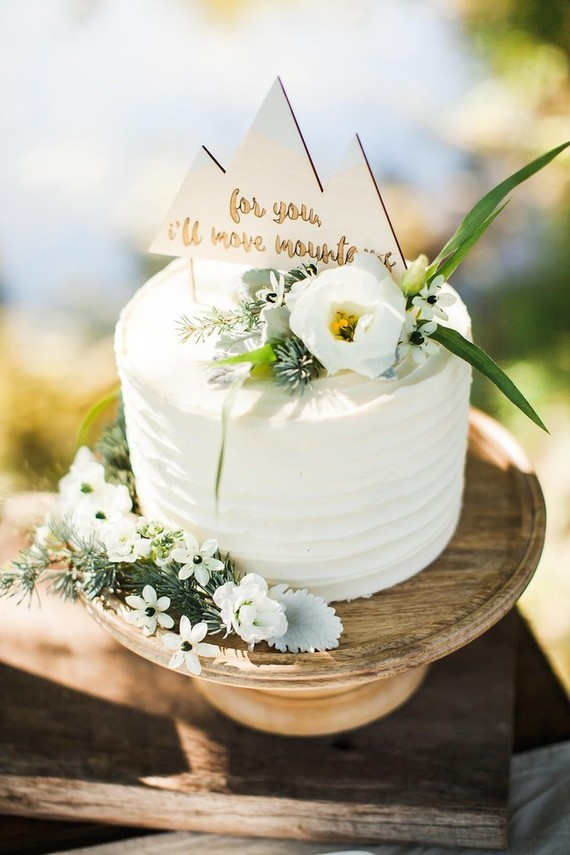 rustic mountain cake topper