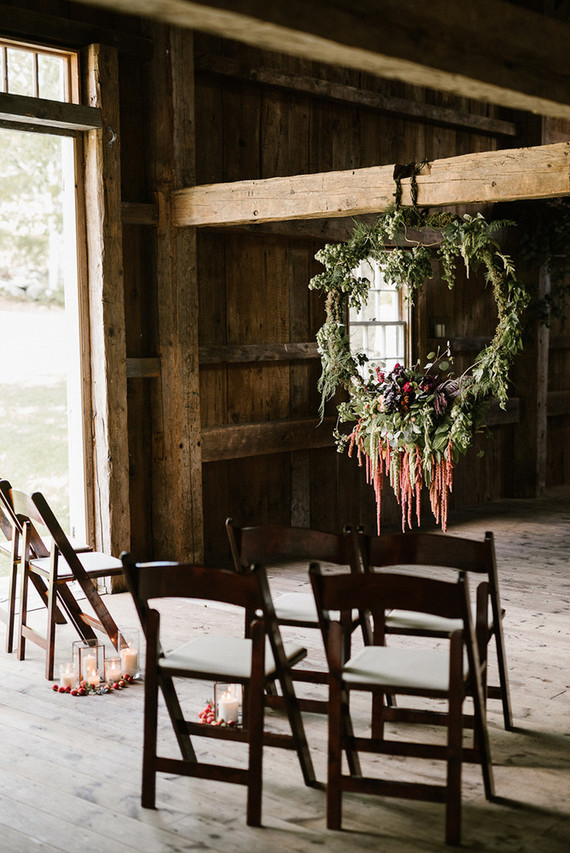 Fall barn wedding ceremony decor