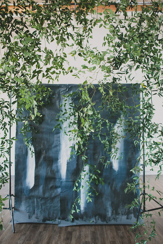 DIY indigo wedding backdrop