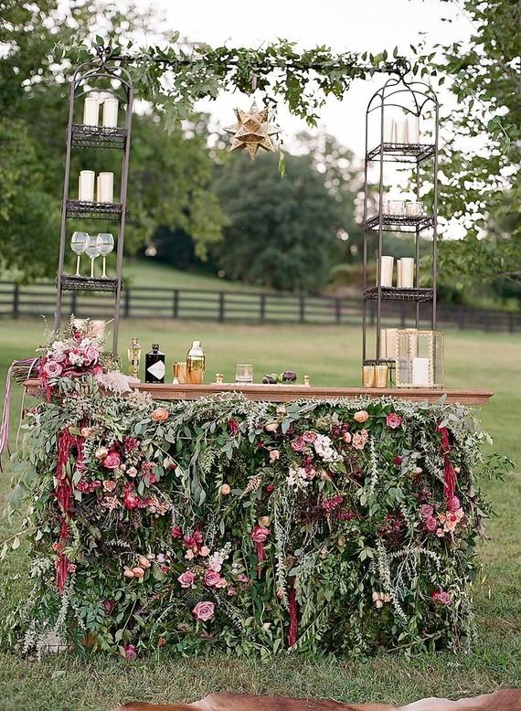 Floral wedding bar