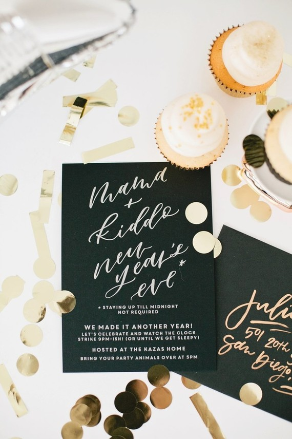 modern black new years eve invite