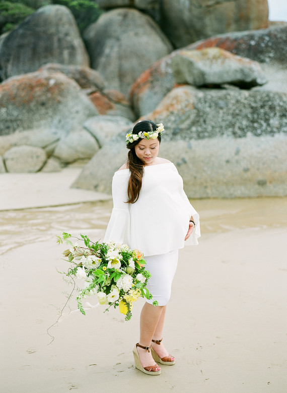 Floral coastal maternity photos
